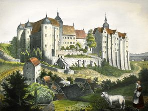 Historical view of Nossen Castle